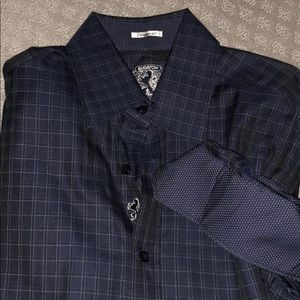 Bugatchi dark blue window pane button down